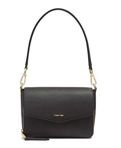 Calvin Klein Ave Saffiano Demi Shoulder Bag, Black/Gold