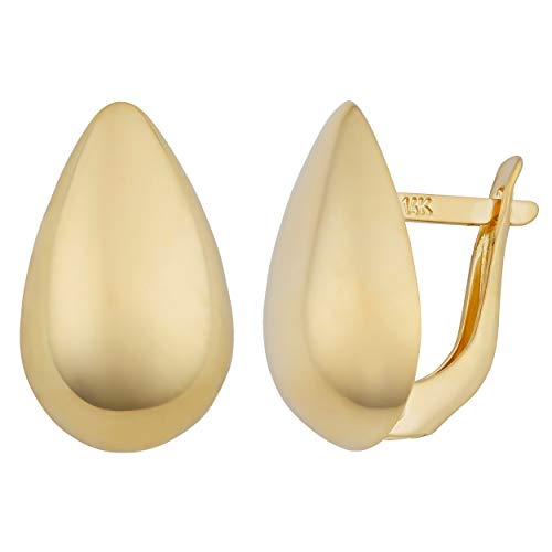 Kooljewelry 14k Yellow Gold Pear Shaped Omega Back - Pear 14k Earrings Gold