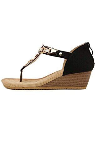Shoes Soft Wedge Black ACEVOG Flops Flip Beach Thong Ladies Sandals Platform Knotbow Summer 4 sizes pqxqFTP