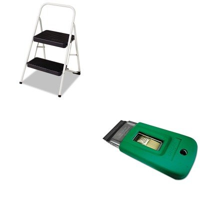 Price comparison product image KITCSC11135CLGG1UNGSR040 - Value Kit - Ergotec Safety Scraper (UNGSR040) and Cosco 2-Step Folding Steel Step Stool (CSC11135CLGG1)