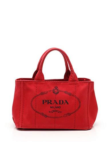 (プラダ) PRADA CANAPA カナパ トートバッグ キャンバス 赤 2WAY 中古 B07QKC42P5