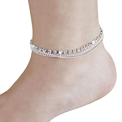Phima Women Ankle Bracelets, Silver Rhinestone Crystal Multi-Layer Beads Anklet Bracelets for Girls Foot Jewelry