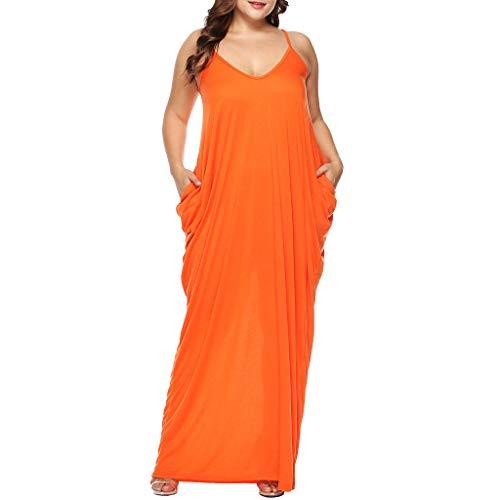 (Toimothcn Women's Plus Size Loose Maxi Dress with Pocket Summer Spaghetti Strap V-Neck Long Dresses (Orange,XL))