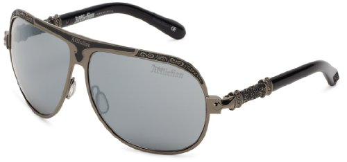 Affiliction Roman Rectangular Sunglasses, Gun/Black, 64 - Affliction Sunglasses