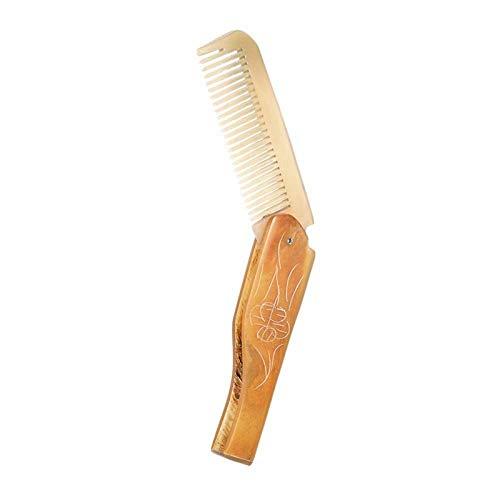 SODIAL Mini pettine dei capelli ha pieghevole Barba pettine Uomini corno pettine naturale antistatico