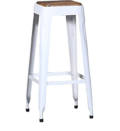 Astounding Villageliving Wooden Top Bar Stool White Creativecarmelina Interior Chair Design Creativecarmelinacom