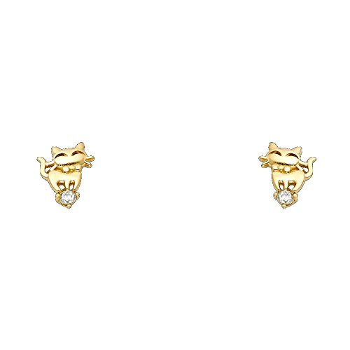 14k Yellow Gold Cat Stud Earrings with Screw Back