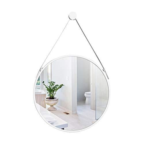 QAQ Wall Mirror Bathroom Makeup Mirror Nordic Wall-Mounted Vanity Mirror, Metal Frame and a Chic Hanging Chain, Makeup Mirror - Shaving Mirror, Fashion Bathroom Decoration(500500MM) (Color : White) ()
