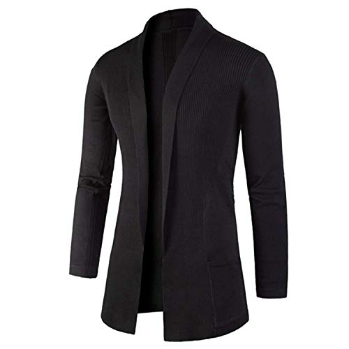 Sweater Men Splicing Cardigan Knitwear Pull Homme Cashmere Sweaters,XX-Large,Black from BA Outwear