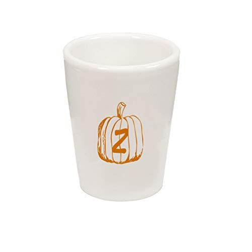 Style In Print Black Z Halloween Pumpkin Monogram Letter Z Ceramic Shot Glass Cup]()