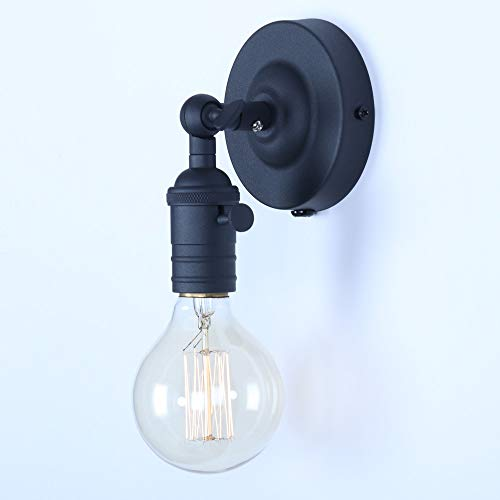 Mini Wall Sconce Fixture, XIDING Upgrade Black Finish Vintage Wall Lamp, Single Socket with Candlestick Molding Design, Industrial Rustic Retro Metal Wall Lights, with On/Off Switch ()