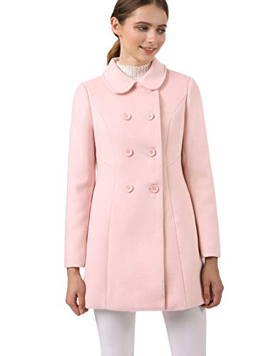 (Allegra K Women's Peter Pan Collar Double Breasted Winter Long Trench Pea Coat Pink M (US 10))