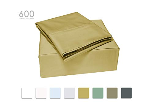 Queen Size Taupe 100% Cotton Sheet set, 600 Thread Count, 4-Piece set, Long Staple Combed Compact Cotton, Sateen Weave, Classic Z Hem, Ultra Soft & Shine, Fits Mattress Upto 17