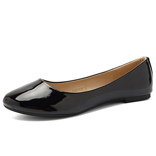CIOR Women BalletFlats Classy Simple Casual Slip-on Comfort Walking Shoes from Merence,BlackPatent,242,6.5M