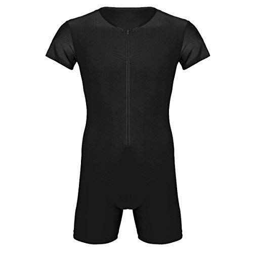 - inhzoy Men's One Piece Lycra Solid Modified Wrestling Singlet Leotard Front Zipper Bodysuit (Black, Large)