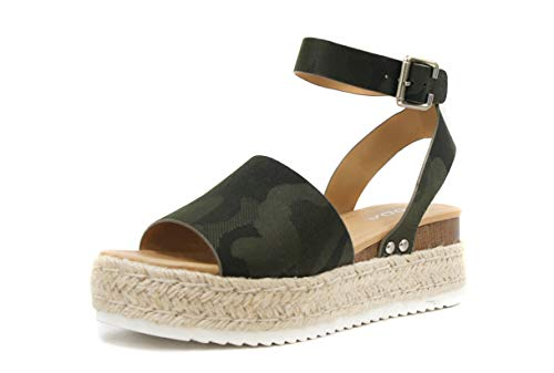(SODA Topic Casual Espadrilles Trim Rubber Sole Flatform Studded Wedge Buckle Ankle Strap Open Toe Sandal (10, Camo Green) )