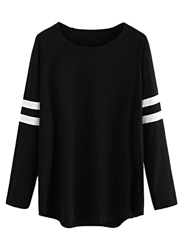 Milumia Womens Varsity Striped Sports Long Sleeve Baseball Tee Shirt Top