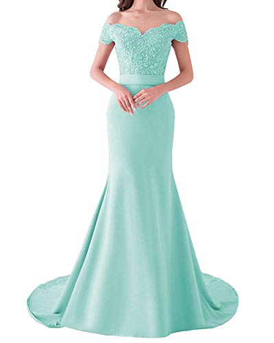 (Fitty Lell Women's Sweetheart Mermaid Bridesmaid Dress Off The Shoulder Long Evening Dress(US14,Tiffany Blue))