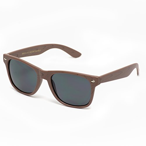Faux Wood Print Reflective Revo Color Lens Horn Rimmed Sunglasses Black Wood Print / Black Lens