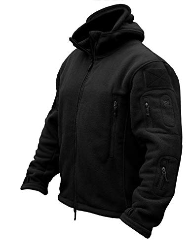 CRYSULLY Men's Fall Winter Coat Safari Jacket Fleece Hiking Travelling Fatigue Outdoors Snow Jacket Coat Black