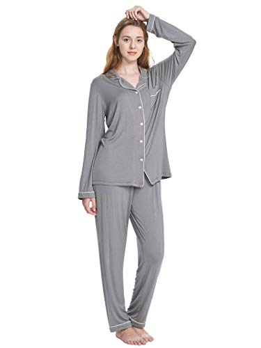 SIORO Pajamas for Women Long Sleeve Sleepwear with PJ Sets Ladies Pajamas Soft Cotton Loungewear Top and Pnats, Gray with White Piping, L