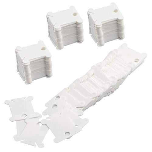 - Zest ST 120 Pieces White Plastic Floss Bobbins for Cross Stitch Embroidery Cotton Thread Craft DIY Sewing Storage