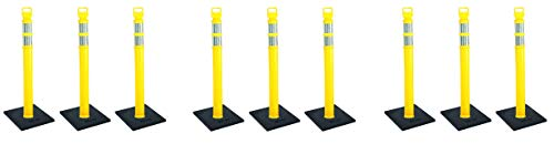 Cortina EZ Grab Delineator 45'' Post, 3'' Hip Collars with 10 lb Base, 03-747YRBC-3, Yellow, 3 Pack (3 X Pack of 3) by Cortina (Image #2)