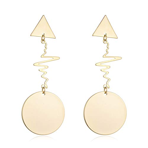 HONGYE Gold Colored Round Disc Shaped Drop Earring Hook Earrings for ()