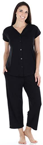 PajamaMania Women's Button-up Short Sleeve Capri Pajama Set (PMR1923-1011-SML)