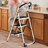 2 Step Ladder Stool Combo with Handgrip – Anti-slip Folding Step Stool – Extra Wide Pedal Step Sturdy Household Ladder