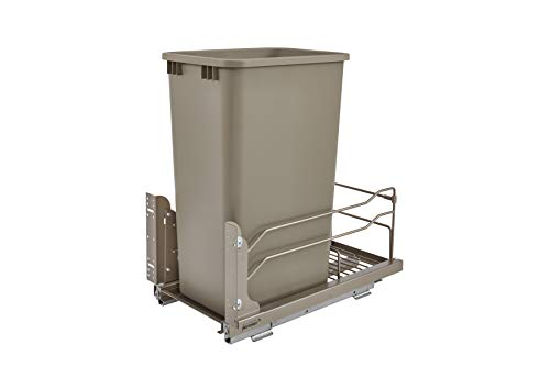 (Rev-A-Shelf - 53WC-1550SCDM-112 - Single 50 Qt. Pull-Out Champagne Waste Container with Soft-Close Slides )