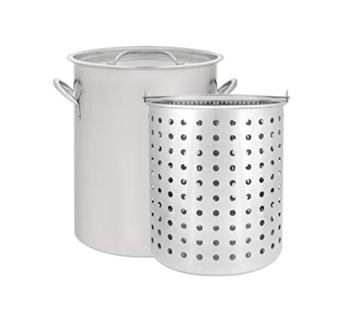 CONCORD 36 QT Stainless Steel Stock Pot w/Basket. Heavy Kettle. Cookware for Boiling - Aluminum 32 Deep Fryer Qt