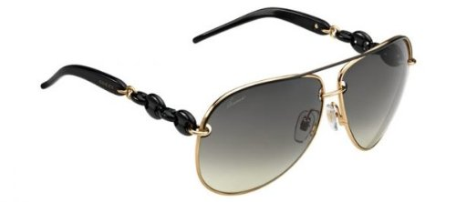 Gucci Sunglasses - 4225  Frame Shiny Black Lens Dark Gray Ochre