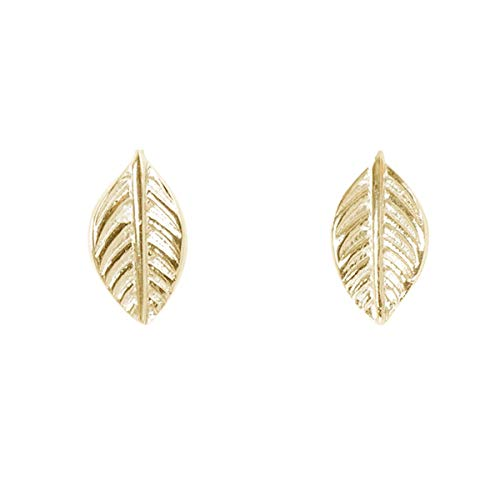 Humble Chic Tiny Leaf Studs - 925 Sterling Silver Dainty Branch Post Ear Stud Earrings, 14K Yellow Single Leaf, Gold-Electroplated, Hypoallergenic