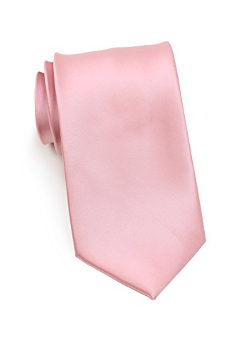 Bows-N-Ties Men's Necktie Solid Color Microfiber Satin Tie 3.25 Inches (Petal Pink)