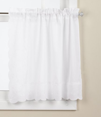 (LORRAINE HOME FASHIONS Candlewick Tier Curtain, 60 by 36-Inch, White)