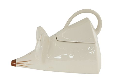Creative Co-Op ceramic Mouse Shaped Cookie Jar, , White