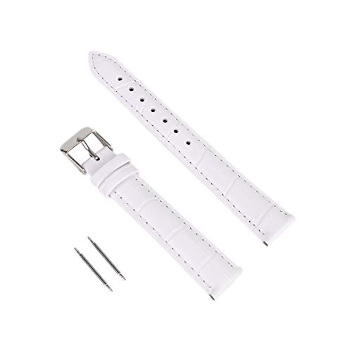 Calfskin Replacement Leather Watch Bands with Deployment Buckle Watch Strap Sliver Watch Clasp Buckle for Men and Women 16mm White