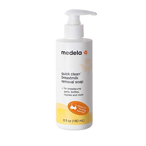 Medela, Quick Clean Breast Milk Removal Soap, Hypoallergenic, No-Scrub Soap for Breast Pump Parts and Nursing Apparel, Removes Breastmilk Residue 3 Days Old, 6 Fluid Ounces