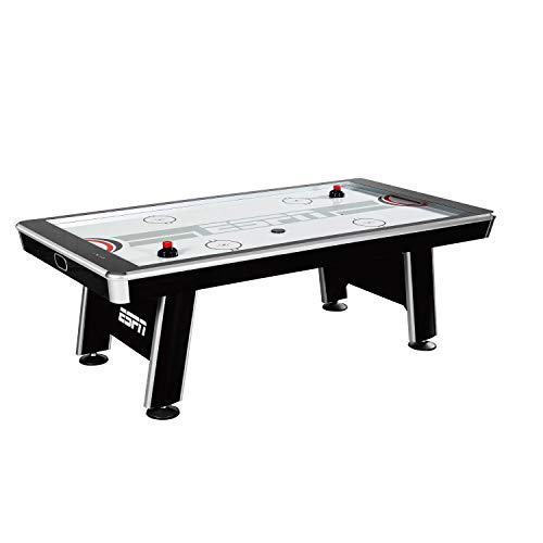 ESPN Air Hockey Arcade Game: Silver Streak Professional Sports Table Set with Equipment - 4 Pushers 4 Pucks and Touch Screen LED Score Keeper - 8 Foot