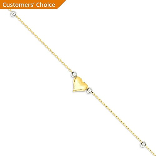 ICE CARATS 14k Two Tone Yellow Gold Heart Beads Anklet Ankle Beach Chain Bracelet Fine Jewelry Gift Set For Women Heart by ICE CARATS (Image #3)