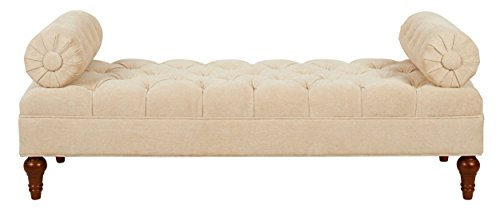Jennifer Taylor Home, Entryway Bench, Beige, Hand Tufted, 2 Detachable Bolster Pillows