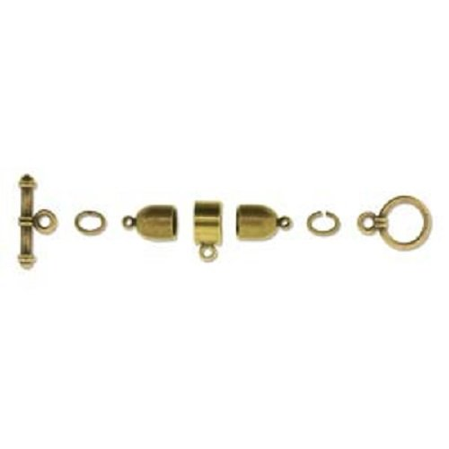 (Beadsmith Kumihimo Antique Brass Plated Finding Set, 6mm Bullet End Cap)