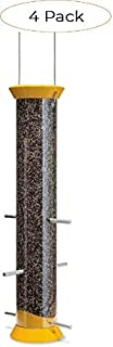 "product image for Droll Yankees 021964410735 DROCJTHM15Y 6 Port Yellow Finch Flocker Nyjer Feeder, 15"" (Four Расk)"