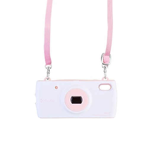 Phone Case for iPhone Xs Case, Solomo Women Cover Cute 3D Fashion Modern Style Camera Design PC + Silicone Cover Phone Case with Hand Rope Chain Necklace for iPhone Xs 5.8 inch (White/Pink)