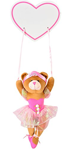 (Gift Giant Plush Bear And Hanging Name Tag - Ballerina Teddy Bear with Wooden Name Plaque - Nursery Decor)