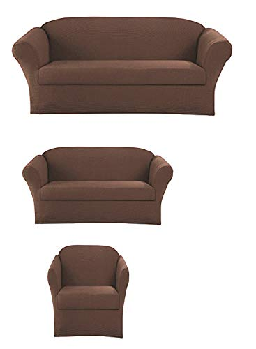 Elegant Home Stretch to Fit 3 Piece or 2 Piece or 1 Piece for Sofa Loveseat & Arm Chair Slipcover Furniture Protector # Stella (3 Piece Sofa Love Seat Chair ()