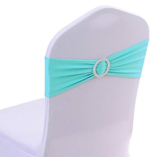 Gold Fortune 50PCS Stretch Wedding Chair Bands with Buckle Slider Sashes Bow Decorations 25 Colors (Aqua)