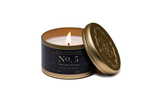 - Luxury Scented Tin Candles | Violet, Amber & Patchouli | Fragrance No. 5 | Coconut Wax Candles | Britten and Bailey's