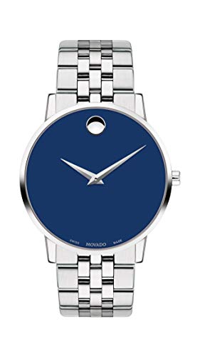 Movado Men's Museum Stainless Steel Watch with a Concave Dot Museum Dial, Silver/Blue (Model 607212)